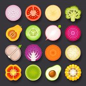 stock photo of avocado  - vegetable vector icon set on black background - JPG