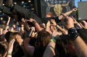 SCHLESWIG-HOLSTEIN, GERMANY - JULY 31: Crowd of people and stage diving at Wacken Open Air, world's