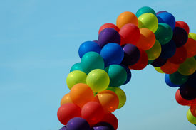 pic of gay pride  - Rainbow colored balloons from a pride parade - JPG