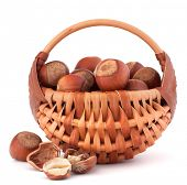 Hazelnuts in wicker basket isolated on white background