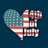 Beautiful heart shape covered by national flag on blue background for 4th of July, American Independ
