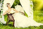 image of wedding arch  - Charming elegant bride under the wedding arch - JPG