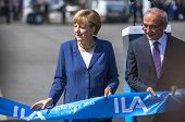 BERLIN, GERMANY - MAY 20, 2014: German Chancellor Angela Merkel (L) and Turkish Minister of transpor