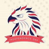 Colorful illustration of national bird on beige background for 4th of July, American Independence Day celebrations.