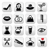 Woman or girl - beauty and fashion vector icons set
