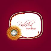 Beautiful rakhi with stylish text Rakhsha Bandhan on maroon background for the occasion of Happy Rak