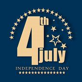 Stylish golden text 4th of July on blue background for 4th of July, American Independence Day celebr