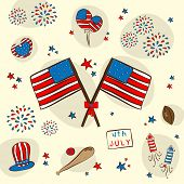 4th of July, American Independence Day celebrations background with national flag and ornaments.