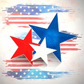 Stylish stars on national flag colors beige background for 4th of July, American Independence Day ce
