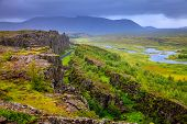 Thingvellir National Park rift valley in Iceland