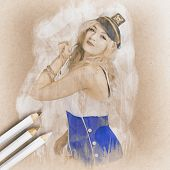Artistic Pencil Drawing Of A Sailor Pinup Woman