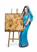 Woman In Indian Turquoise Sari With Pyrography Painting