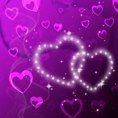 Purple Hearts Background Shows Romantic Fond And Glittering.