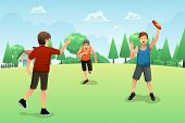 image of frisbee  - A vector illustration of young people playing frisbee in the park - JPG