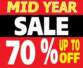 Mid Year Sale Up To 70 Percents Promotion Label
