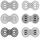 Celtic knot six different arrangements