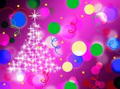 Purple Spots Background Means Dots And Sparkling Christmas Tree.
