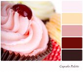 A closeup of frosted cupcakes in a colour palette with complimentary colour swatches