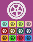 Auto wheel tire Vector icon isolated