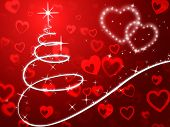 Red Christmas Tree Background Shows Holidays And Love.