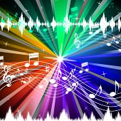 Colorful Music Background Means Brightness Beams And Singing.