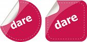 Dare Word Stickers Web Button Set, Label, Icon