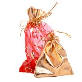 Gold And Red Gift Bags Isolated On White Background