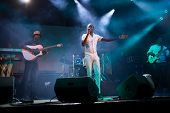 LOULE - JUNE 26: Debademba, traditional band from Mali, performs on stage at festival med, a world m