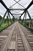 foto of trestle bridge  - The old iron bridge across Pai liver - JPG