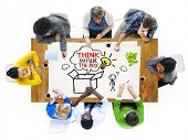 foto of thinking outside box  - People in a Meeting and Thinking Outside the Box Sayings - JPG