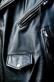 High Contrast Black Leather Biker Jacket Detail