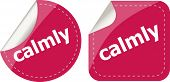 Calmly Word Stickers Set, Web Icon Button