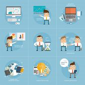 Set of Flat Style Icons for Business Design. Office Workers, Managers and Developers. Advanced Techn