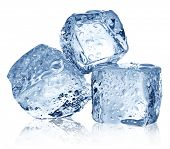 picture of crystal clear  - Three ice cubes on white background - JPG