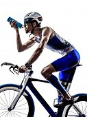 man triathlon iron man athlete biker cyclist bicycling biking drinking in silhouette on white backgr