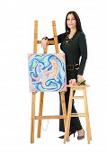 Artist Leaning On An Easel With Abstract Painting Cats