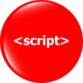 Script Sign Icon. Programming Language Symbol. Circles Buttons