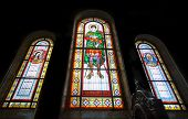 Stained glass  in Kharkov temple of Assumption, Ukraine.