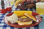 Cheese Burger With Corn On The Cob