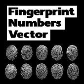 Numbers of fingerprint. Vector illustration with number