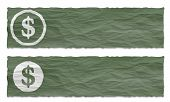 Set Of Two Banners With Crumpled Paper And Dollar Symbol