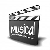 Постер, плакат: detailed illustration of a clapper board with musical term symbol for film and video genre eps10 v