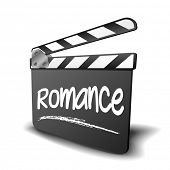 detailed illustration of a clapper board with Romance term, symbol for film and video genre, eps10 vector