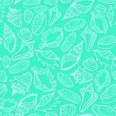 Vector seamless pattern with cute seashells