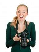 woman photographer reviewing good shot
