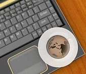Coffee cup and saucer with a globe on computer keyboard on wooden table background. 3d illustration