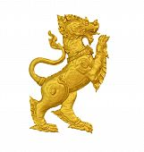 Gold Singha On White Background