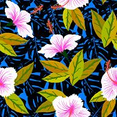 Tropical pattern with hibiscus flowers