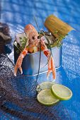stock photo of crustaceans  - Presentation of a crustacean with mixed vegetables in box - JPG