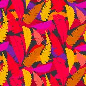 Grunge autumn pattern with fern leafs